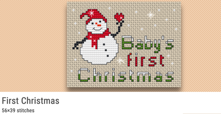 baby's first christmas free cross stitch pattern design