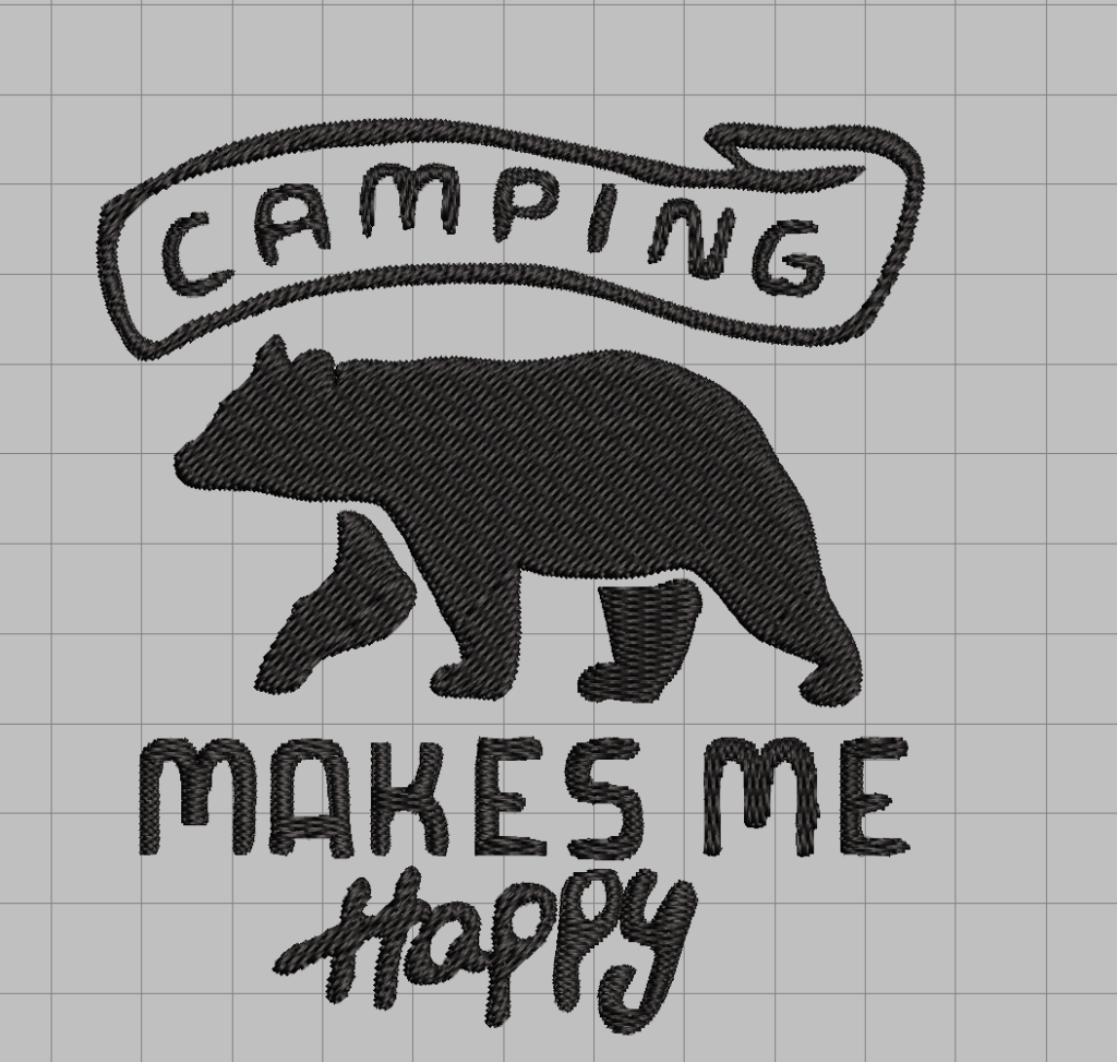 free camping makes me happy bear embroidery design