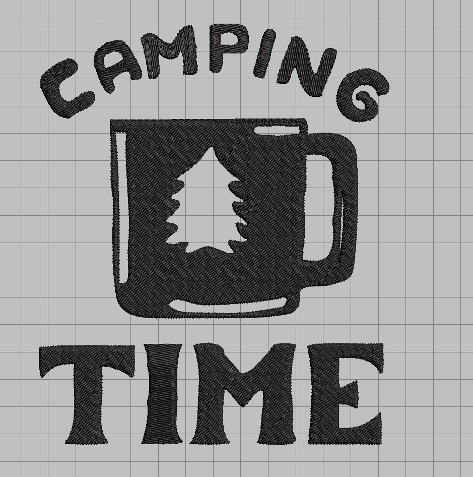 free camping time embroidery design