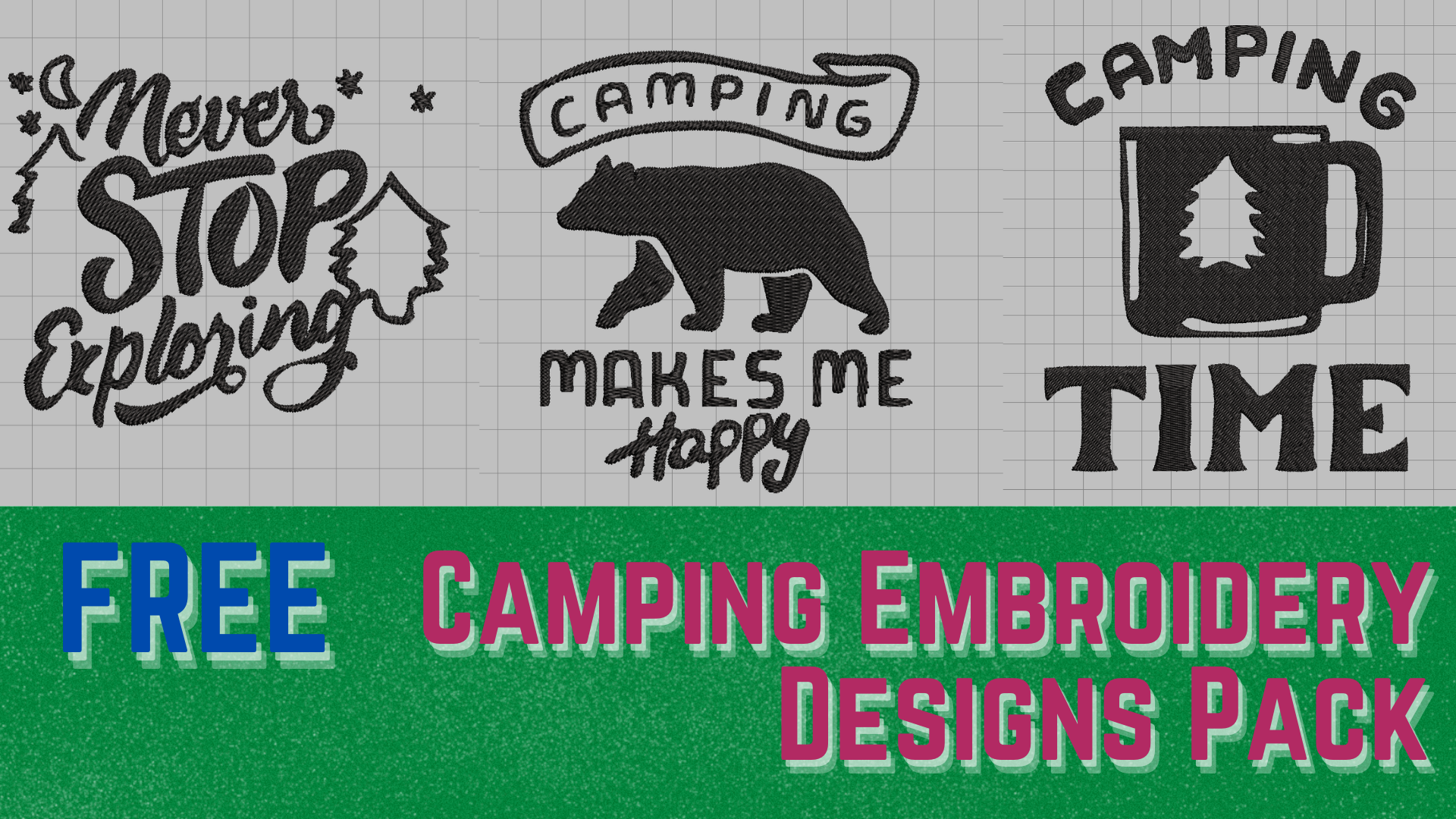 free download camping embroidery designs