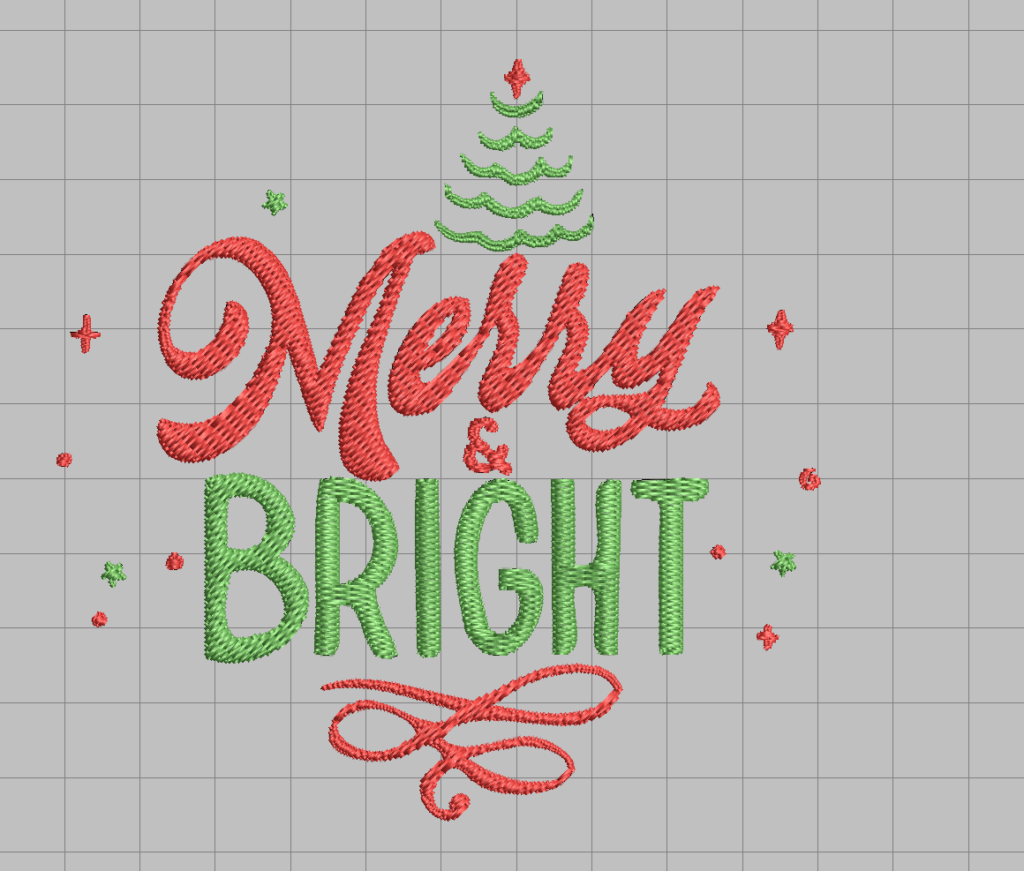 free merry and bright christmas machine embroidery design