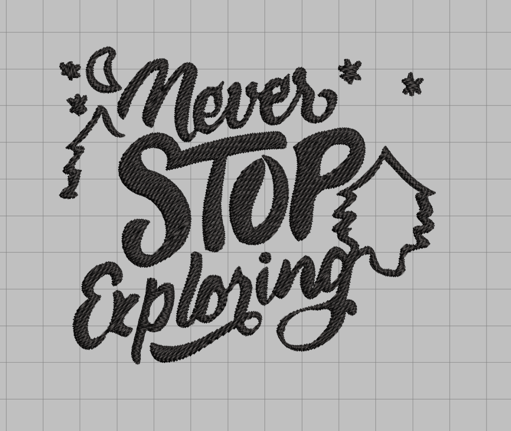 free never stop exploring camping embroidery design