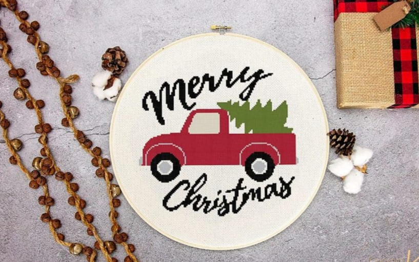 merry christmas truck farm house cross stitch pattern free download